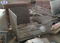 Wire Mesh Steel Pallet Cages Foldable Heavy Duty Storage For Warehouse