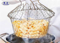 Foldable 304 Stainless Steel Fryer Basket , Double Handle Fryer Strainer Basket