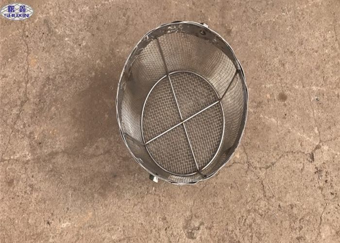 Round Stainless Steel Wire Mesh Baskets , 304 Stainless Steel Mesh Filter Baskets